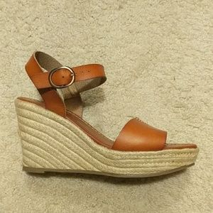 Roxy leather and espadrille wedge